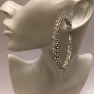 Silver oversized hoop statement earrings
